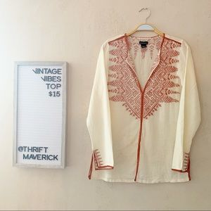 Tops - Boho Embroidered Long Sleeve Top.
